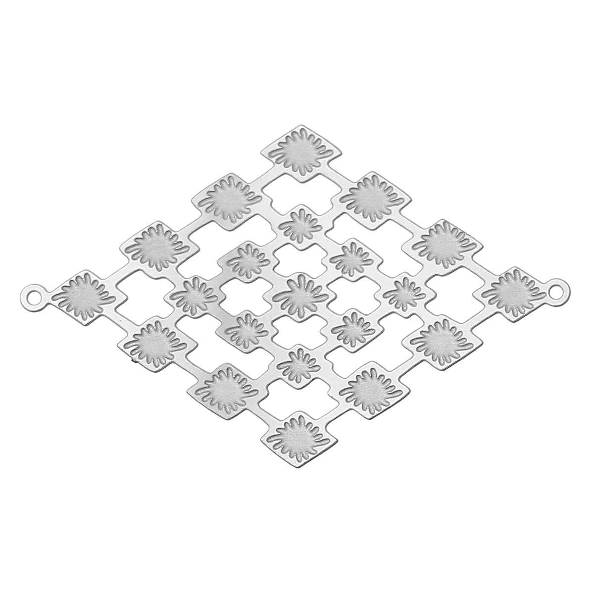 8SEASONS Stainless Steel Connectors Findings Rhombus Silver Tone Color Flower Pattern Hollow 40mm(1 5/8)x 26mm(1),20 PCs