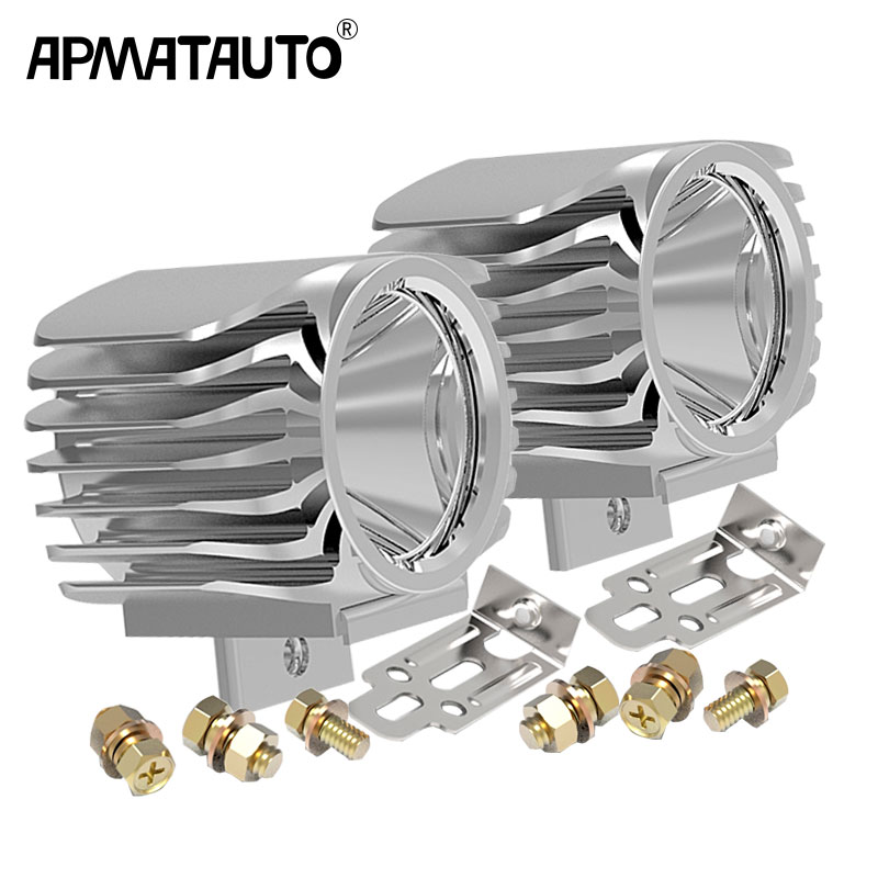 Apmatauto 2pcs Waterproof Motorcycle LED Spotlight Headlight 6W 1000Lm XML-T6 White 6000k Scooter/Bike Aluminum Fog DRL Headlamp