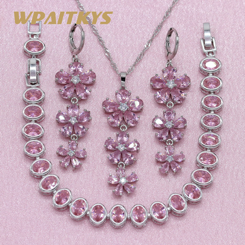 Exquisite Flower Red Pink Stone 925 Silver Jewelry Sets For Women Wedding Earrings Bracelet Pendant Necklace Free Gift Box