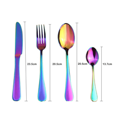 4Pcs/Set Colorful Flatware 304 Stainless Steel Tableware Steak Knife Fork Dinner Western Food HQ Rainbow Cutlery Set
