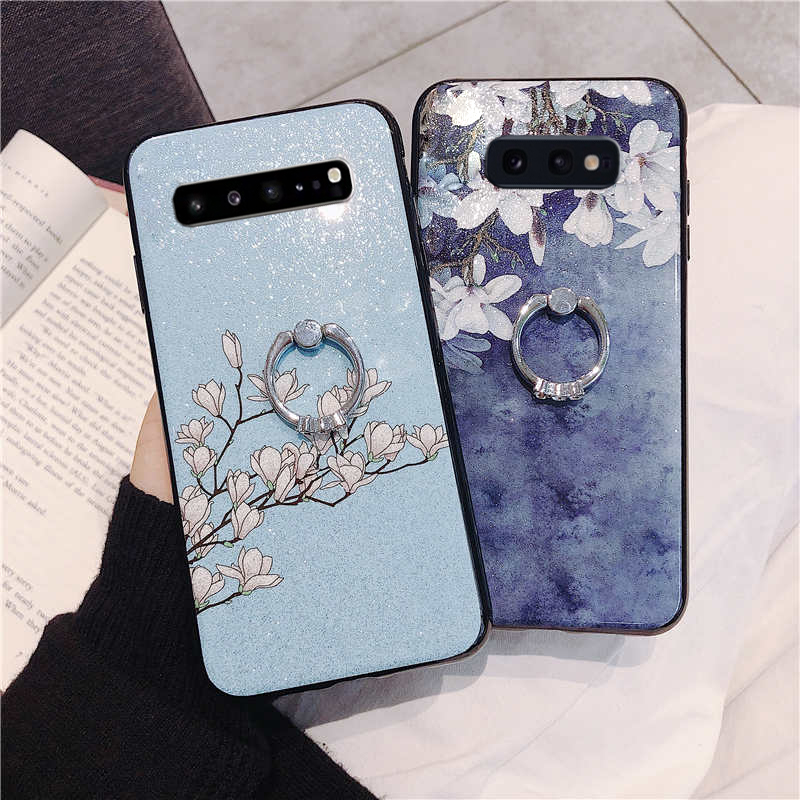 glitter flower finger ring phone case for Samsung Galaxy s10 s10E plus s8 s9 S10-5G wristband strap holder soft cover capa copue image
