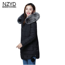 Women Winter Parka 2017 New Hooded Thickening Super Warm Medium long Down Cottton Jacket Long sleeve Slim Big yards Coat C3