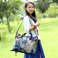 2017 New GUSRIL Brand Design Women National Canvas Messenger Bag Embroidered Fashion Handbag Shoulder Bags for Ladies Girls Tote