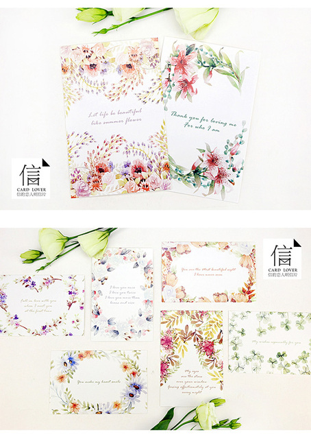 30 pcs set various floral flower story diary greeting cards kawaii