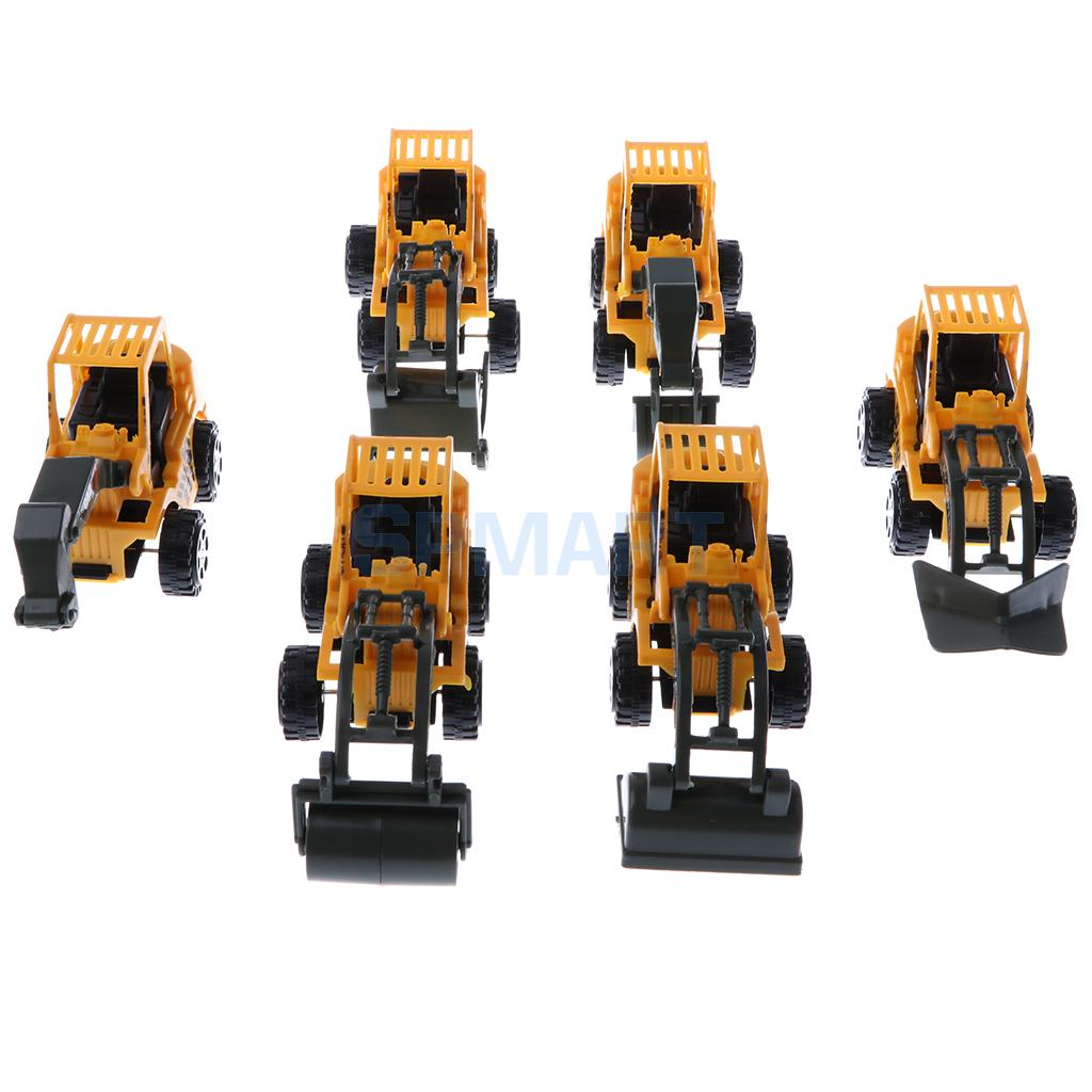 6 Pieces Engineering Car Toys Cartoon Construction Vehicles Models Kids Gift