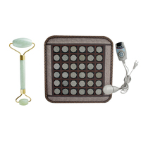 Body Massage Natural Jade Germanium Tourmaline Stones Infrared Heating Mat + Natural Jade Facial Beauty Massage Tool Jade Roller