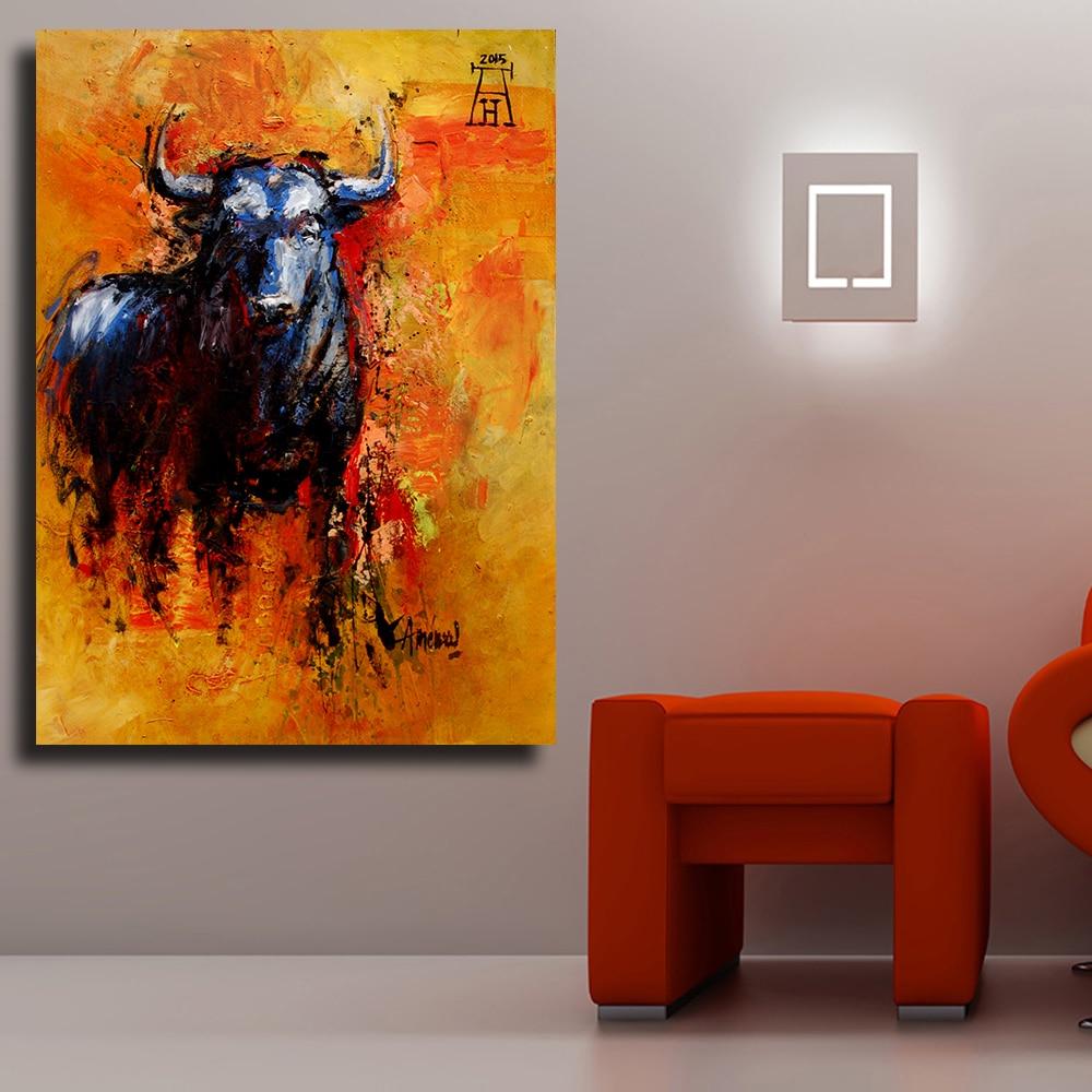 QKART Ev Dekor Bull Heyvan Yağı Qonaq otağı Divar şəkilləri - Ev dekoru - Fotoqrafiya 3
