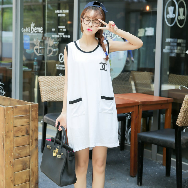 New Style Fashion Graceful Women Clothes Summer Pregnant Dress White Cotton Sleeveless Loose Maternity Dresses Large Size 12005