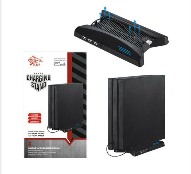 Spaceship Multifunction PS4 Pro Vertical Stand Holder Support+Cooling Fan 2 Cooler fans+3 HUB 2.0 Ports +USB For PS4 Pro PS4PRO