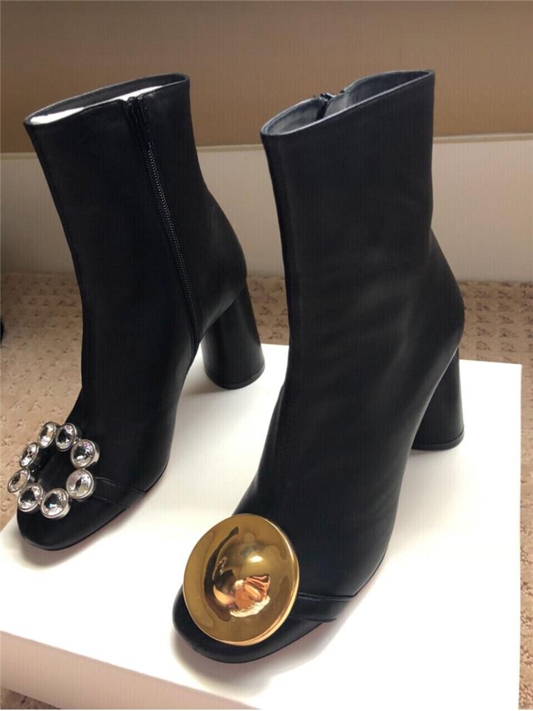 Asymétrique Métal Hiver Hauts Talons Show Boucle Strass Chaussures Bottes Casual Sexy Femmes Mode Cheville As Automne En Cuir Épais wSpqxdS