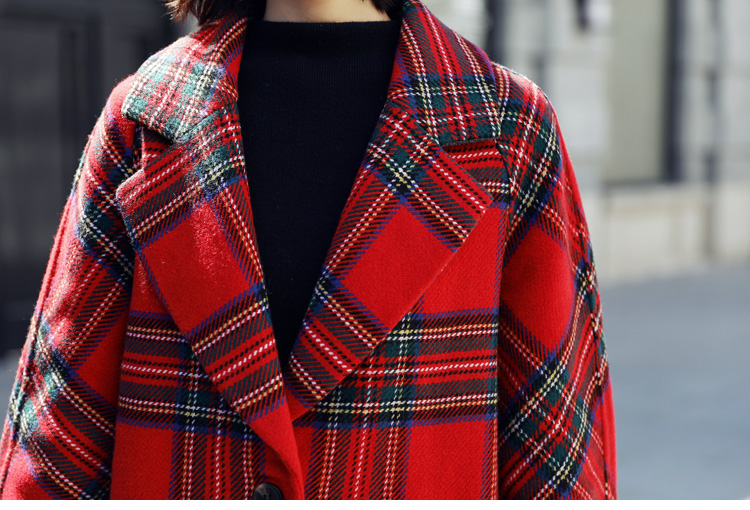 Poches Manteau Automne Manteaux Plaid Rouge Turn Style Veste down Unique Femmes De Mélange Long Poitrine Angleterre Col Hiver Laine Et qgwT8t44