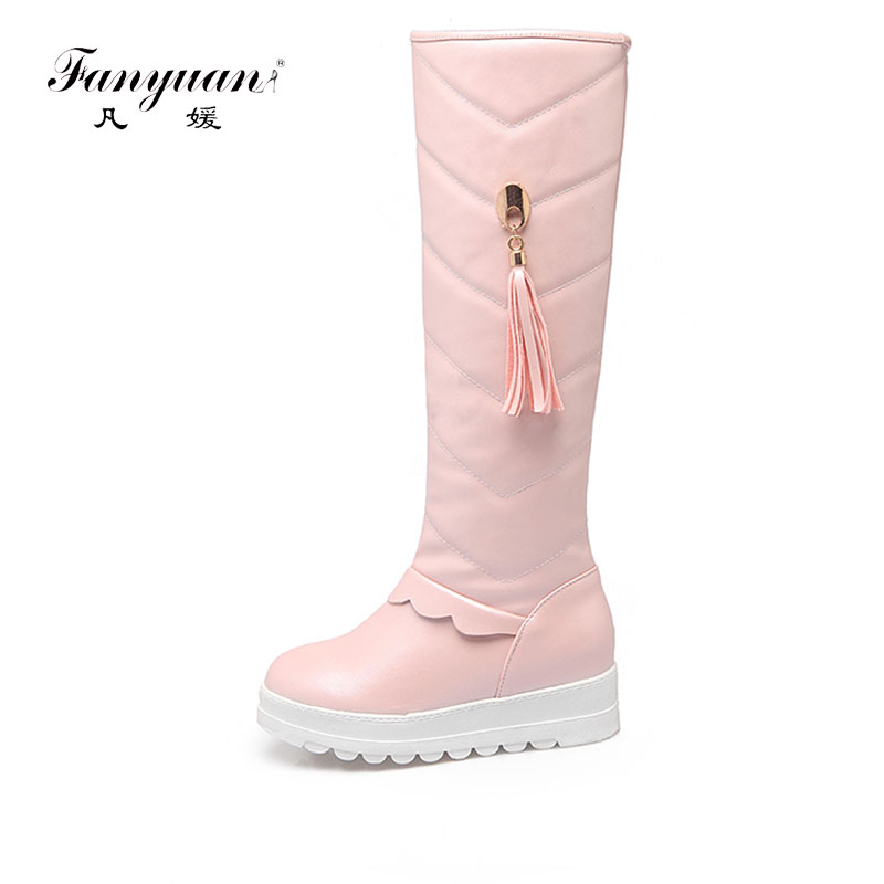 Fanyuan Winter Women Shoes Knee high Boots Female Elevator Flat Thermal Velvet Snow Boots Platform Cotton-padded Shoes Size 43