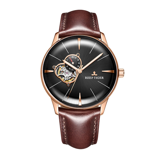 Reef Tiger Aurora Serier RGA8239 Men Fashion Business Ultra Thin Hallow Out Dial Automatic Mechanical Wrist WatchReef Tiger Aurora Serier RGA8239 Men Fashion Business Ultra Thin Hallow Out Dial Automatic Mechanical Wrist Watch