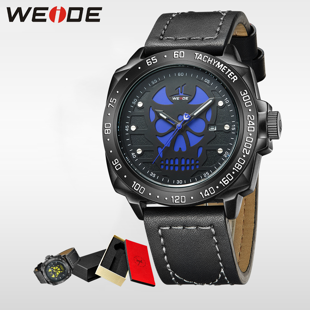 WEIDE Brand halloween watch sport Men Waterproof Quartz Wristwatch Analog Leather Strap eletronicos Relogio Masculino clock 1510 weide popular brand new fashion digital led watch men waterproof sport watches man white dial stainless steel relogio masculino