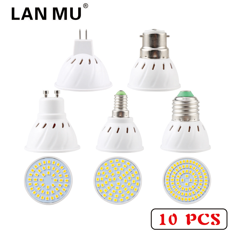 LAN MU 10 PCS Lampada LED Bulb E27 E14 MR16 GU10 B22 110V 22s