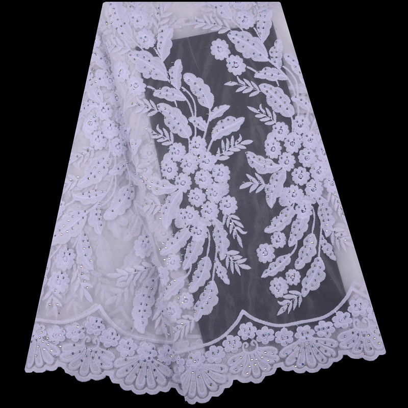 African Lace Fabrics 5 Yards White Guipure Lace Fabric 2019 High Quality African Cord Lace Fabric