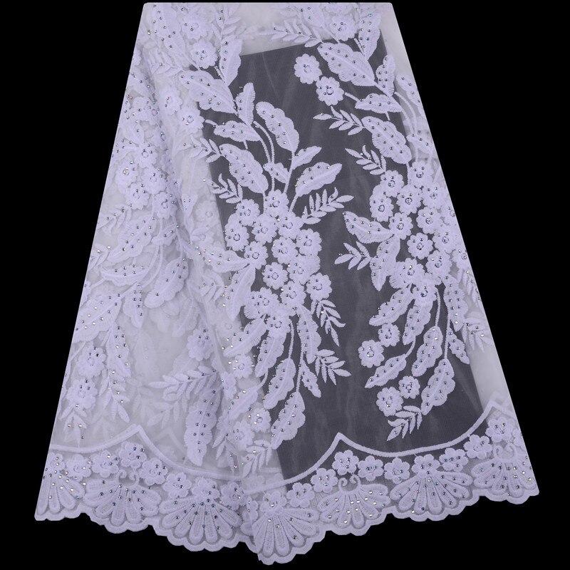 Tissus de dentelle africaine 5 mètres blanc Guipure dentelle tissu 2019 haute qualité africaine cordon dentelle tissu pour robes de mariée 1435-in Dentelle from Maison & Animalerie    1