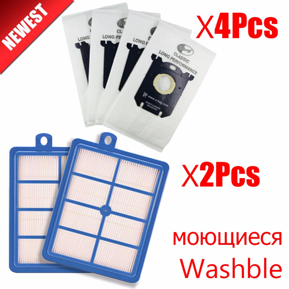 2pcs Replacement washable h12 h13 hepa filter & 4pcs Dust Bags for Philips Electrolux AEG Vacuum Cleaner filter and S-BAG г москва ваз 21043