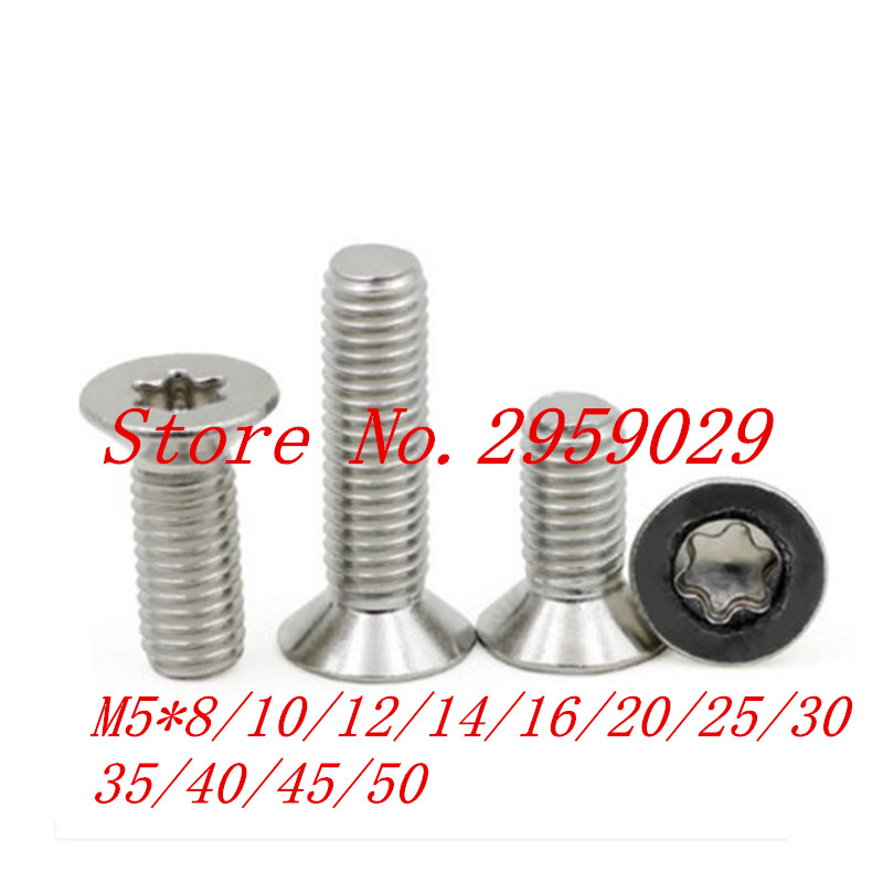 100pcs DIN965 M5*8/10/12/14/16/20/25/30/35/40/45/50  M5  A2 Stainless Steel Torx Countersunk Flat Head Screw Screws 8 8 hexagon socket screw model self tapping screw speaker speaker m5 10 12 14 16 18 20 25 30 35 40 45 50