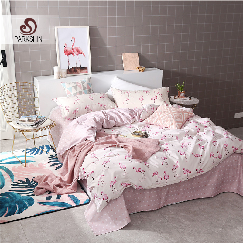 ParkShin Fashion Art Flamingo Pink White Bedding Set Comforter Duvet Cover Active Printing Set Bed Linen Bedclothes Multi Sizes