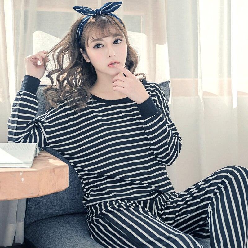 d7f8a97c38 2019 primavera otoño Casual rayas de satén de seda conjuntos de pijamas  para mujeres de manga larga ropa de dormir femenina de lencería Homewear  Pijama ...