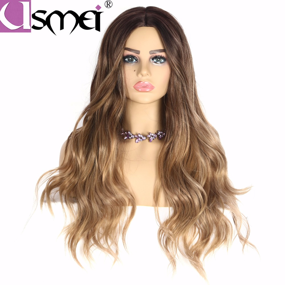 USMEI Long Wavy Wigs Cosplay For Women 26inches Synthetic Wig Blonde Brown Black Pink Fake Hair For Choose 7 Colors Ombre Hair(China)