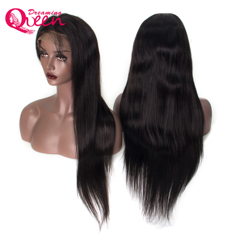Dreaming Queen Brazilian Lace Front Human Hair Wigs For Women Remy Straight Wig Baby Hair Natural Hairline Full End Black Color
