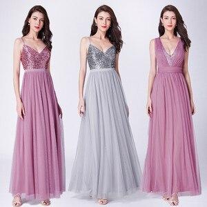 Image 3 - Длинные платья для выпускного вечера 2020 EP07455OD Элегантные платья трапециевидной формы с v образным вырезом из тюля для свадебной вечеринки с блестками Vestidos De Fiesta Elegantes Largos