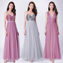Long Prom Dresses 2020 EP07455OD Elegant A Line V Neck Tulle Wedding Party Gowns With Sequin Vestidos De Fiesta Elegantes Largos cheap Ever-Pretty V-Neck Sleeveless NONE Floor-Length Tank Ruffles Sequined Backless empire Polyester A-Line bridesmaid dresses for wedding