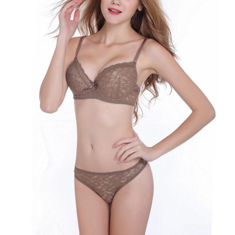 New 2018 Lingerie   Set   Women Drill Sexy Women'S   Bra     Set   Push Up   Brief   Underwear   Bra   And Panties   Set   75B -90C Cup For Women W1