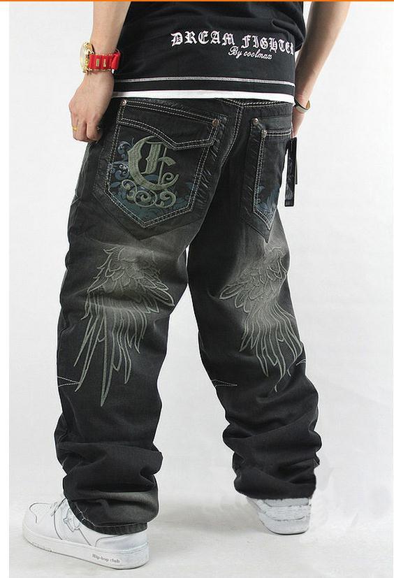 2017 New style Men hip hop jeans denim hiphop pants casual loose jeans trousers big size