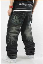 2015 Новый стиль Мужчины хип-хоп джинсы хип-хоп штаны случайные свободные джинсы брюки большой размер 30-46 бесплатно доставка