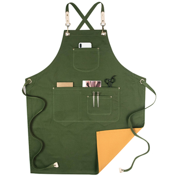 Double Sides Apron Genuine Leather Belt Cotton Barber Kitchen Chef Apron With Pocket Two Colour Work Apron Cook Accessories Z719