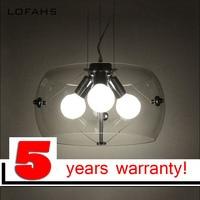 LOFAHS 3 Light bulbs pendant light Transparent Chrome glass restaurant pendant light modem style glass pendant lamp