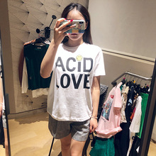 2019 Spring New Short Sleeve Loose Lovely Wind Printing Straight Tube Show Lean Women's T-shirts O-Neck Letter Shirt Women цена