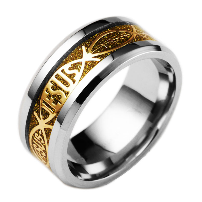 hot sale accessories jesus letter christian titanium steel inlay rings for men and womenchina - Christian Wedding Rings