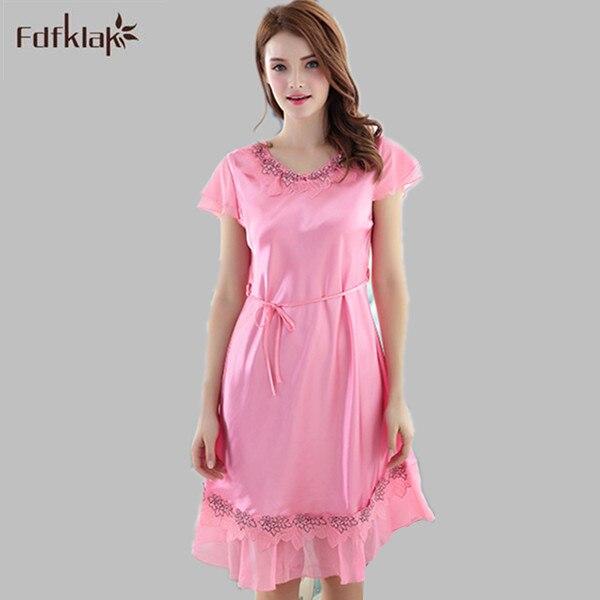 b65fbef632 Summer Short Sleeve Nighties For Women Lingerie Dress Sexy Nightgown Silk Sleepwear  Women Nightwear Night Dress Pink L XL E1158