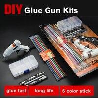 Free shipping DIY 20W hot melt glue gun kits, home glass silicone rubber rod glue 7mm