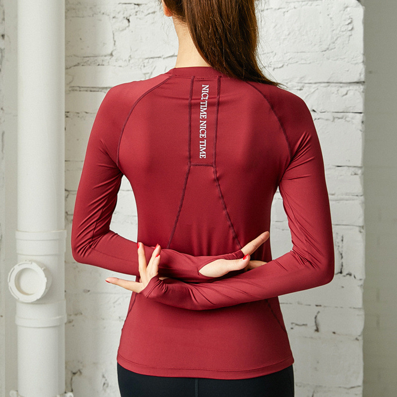 Sports Tops Gym Women Letter Fitness T Shirt  Long Sleeve Tight Yoga Top Breathable Quick-drying Running Training Workout Clothe