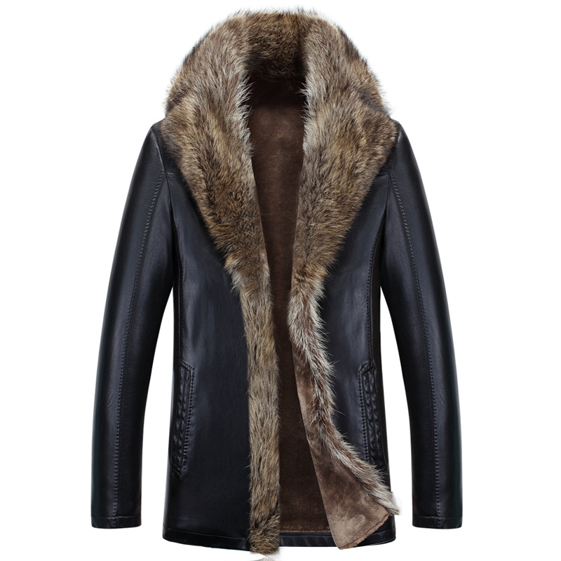 Winter sheep leather men raccoon fur men long high quality solid color thickening velvet leather coat