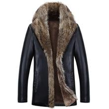 Zima owcza skóra mężczyźni Raccoon Fur mężczyźni długie wysokie jakości stałe kolor pogrubienie aksamitna skóra płaszcz parki MZ1158