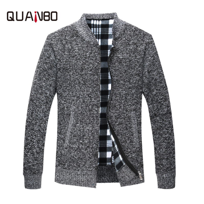QUNABO Men Sweaters Knitted Cardigan 2018 New Autumn Winter Youth Male Slim Fit Cardigans Casual Fashion Zipper Sweaters