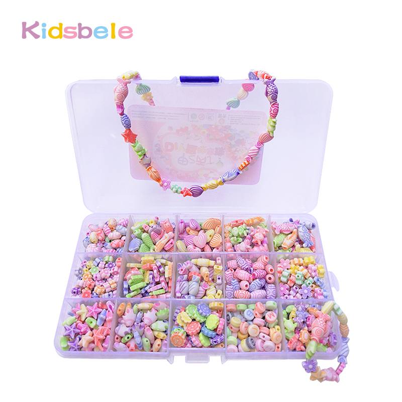 500pcs Colorful Beads Girls DIY Toy Creative Toys Kids Jewelery Making Kit Handmade Beads Educational Toys For Girls Developing