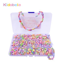 500pcs Colorful Beads Girls DIY Toy Creative Toys Kids Jewelery Making Kit Handmade Beads Educational Toys For Girls Developing(China)