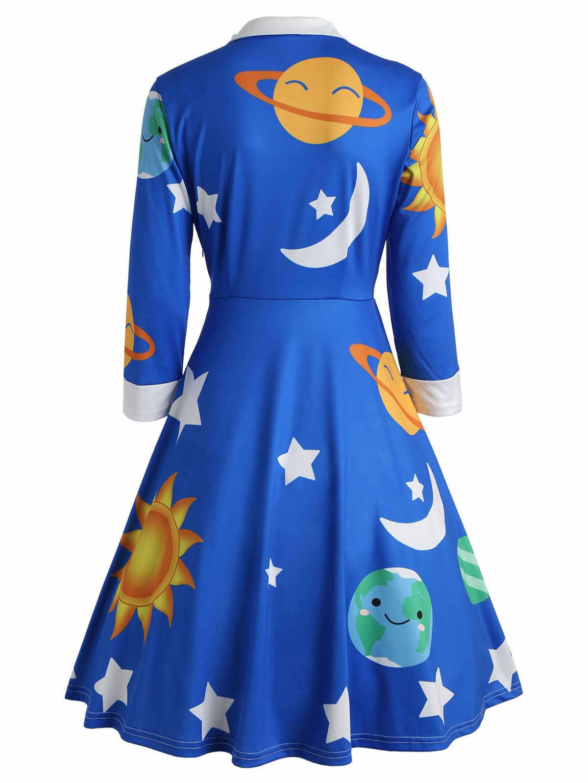 Wipalo для женщин 1950 s Стиль Flare Винтаж Защита от Солнца и Луны Платье с принтом Длинные рукава по колено Империя внешний платье с рисунком космоса Vestidos Femme