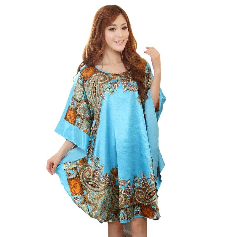Summer New Chinese Style Satin Robe Dress Women s Sexy Loose Nightgown  Sleepwear Vintage Kaftan Bathrobe Gown Plus Size d43f57589