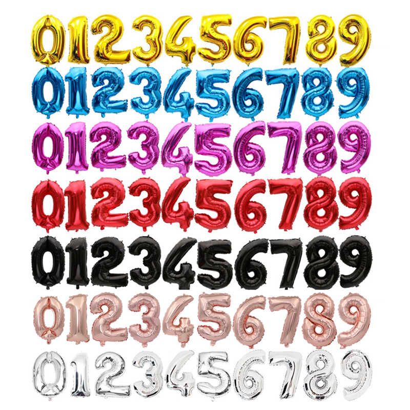 16'' 32 inches 0-9 Number 9 colors available Foil Balloons globos Digit Ballons Birthday Party decorations kids Wedding Balloon