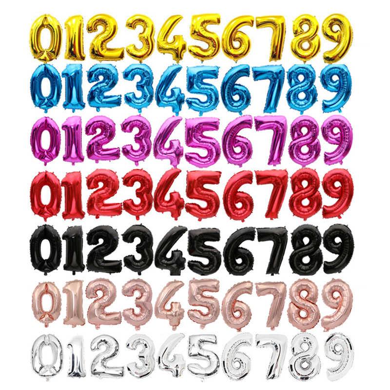 16 ''32 pulgadas 0-9 número 9 colores disponibles globos de aluminio globos dígitos globos de cumpleaños decoraciones para fiestas niños globos de boda