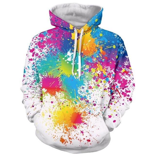 US $17 93 22% OFF Men Women Fashion Brand hoodies Paint Splatter 3D All  Over Print Hip Hop Casual Hoodie Hipster Rainbow 3d hooded sweatshirt-in