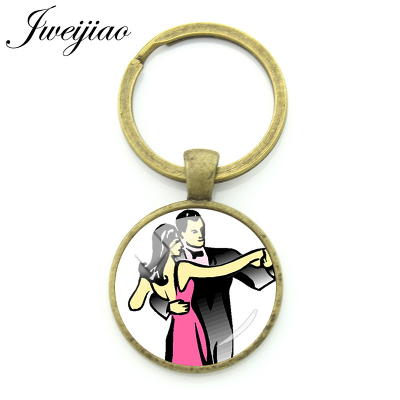 JWEIJIAO Classic Elegant Waltz Male Ladies Photo Keyrings Ballet,Tango Dancer Figure Silhouette Pendant Club Customized DS33